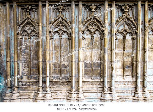 Architecture detail at the facade of the Cathedral of Girona, Catalonia, Spain