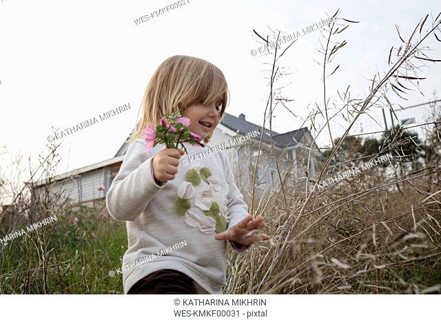 Carefree little girl picking flowers
