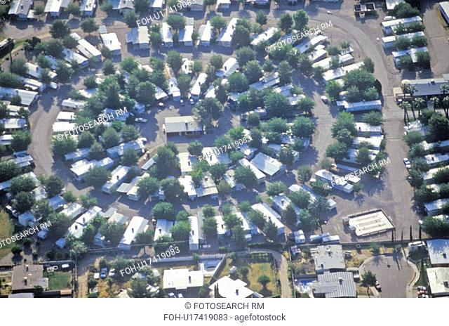 Aerial view of desert suburban homes in Tucson, Arizona