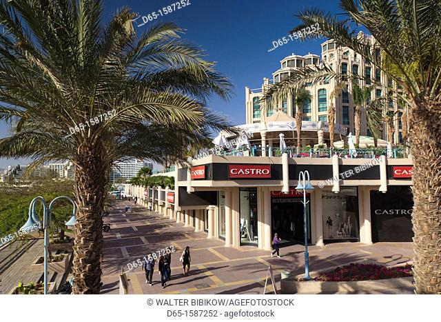 Israel, The Negev, Eilat, Red Sea beachfront, boardwalk