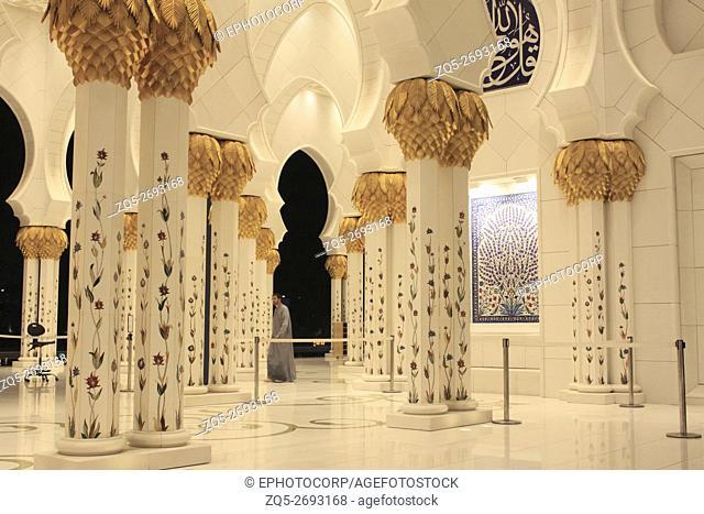 Elegantl floral mosaic on the pillars of Grand Mosque, Abu Dhabi, UAE