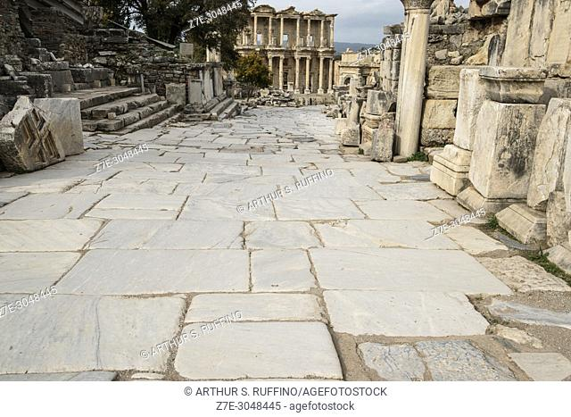 Curetes Way leading to the Library of Celsus. Ephesus, UNESCO World Heritage Site, Selçuk, Izmir Province, Ionia Region, Turkey, Eurasia