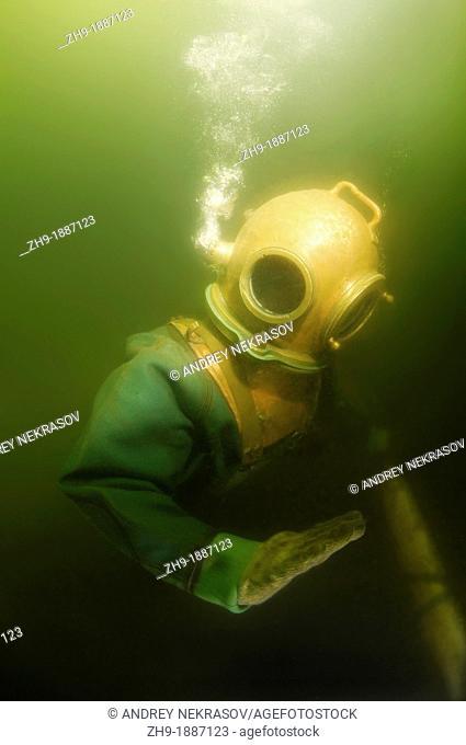 Professional diver checks the pipeline  Japan sea, Far East, Primorsky Krai, Vladivostok, Russian Federation