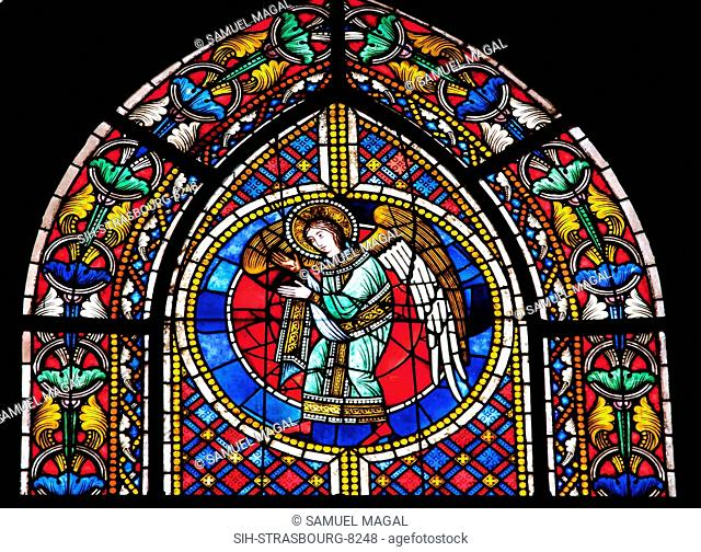 France, Alsace, Strasbourg, Strasbourg Cathedral, Stained Glass Window, Angel