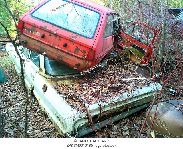 Two older rusted out cars stacked on top of each other found in an overgrown scrapyard in Ontario, Canada