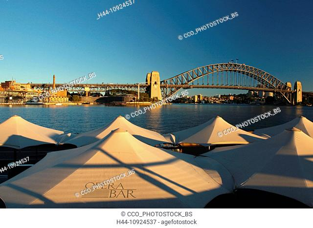 The Rock, Harbour bridge, opuses Bar, bridge, architecture, Sydney, metropolis, city, nicely, morning, sun, sunrise, harbour, port, water, blue sky, Australia