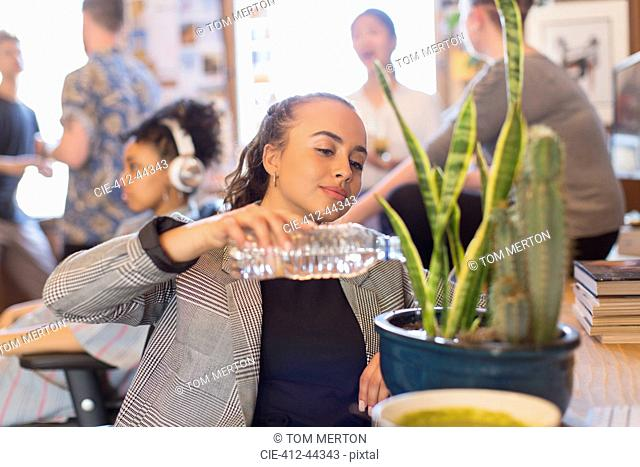 Businesswoman watering cactus plant with bottle water in office