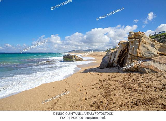 scenery of Atlanterra Beach, from Cape Plata, in Zahara de los Atunes village (Cadiz, Andalusia, Spain)