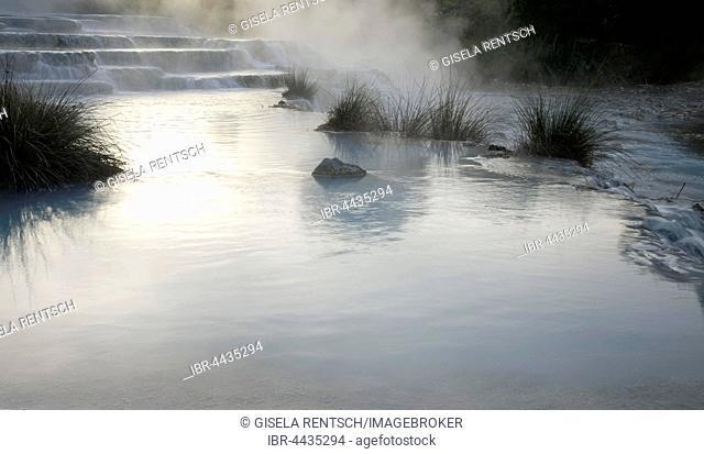 Steaming water, Naturtherme Saturnia, hot springs, Manciano, Tuscany, Italy