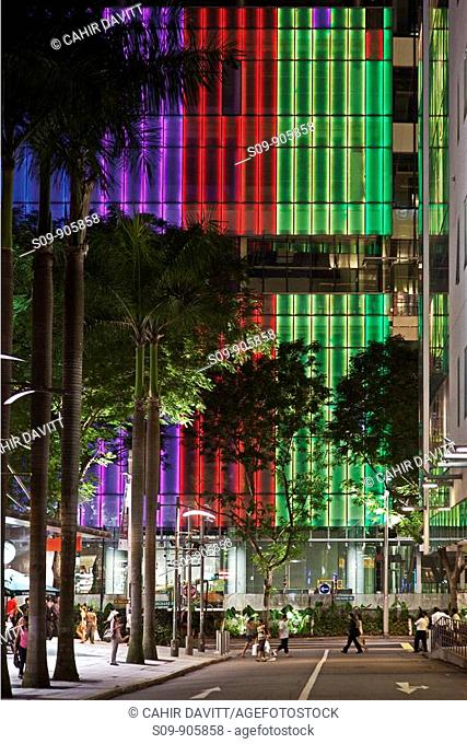 Singapore, Mount Emily Park, new retail development with neon tube lighting on Orchard Road