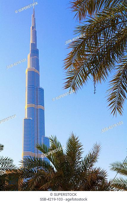 Low angle view of a tower, Burj Khalifa, Dubai, United Arab Emirates
