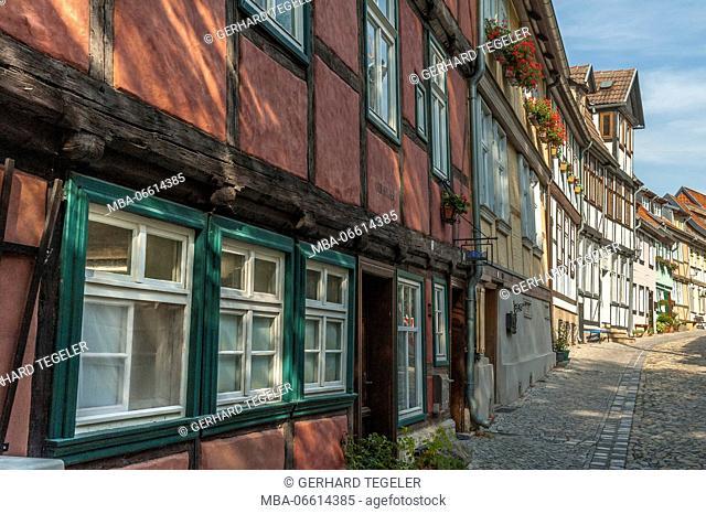 coloured row of houses in Quedlinburg, Harz