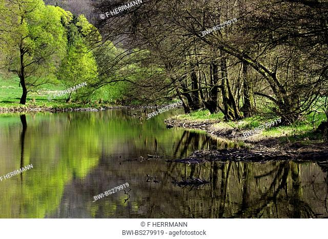 pictoresque river landscape in the valley of the Weisse Elster, Germany, Saxony, Vogtland