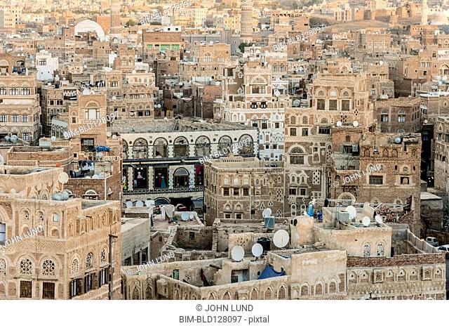 Aerial view of Saana cityscape, Yemen