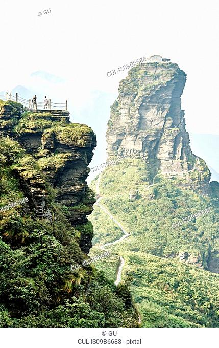Tourists at Mount Fanjing rock formation, Jiangkou, Guizhou, China