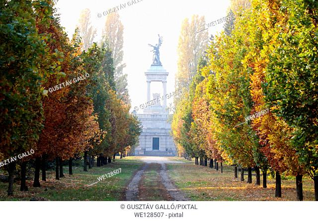 Autumn cemetery in Széchenyi István memorial walkway in Hungary