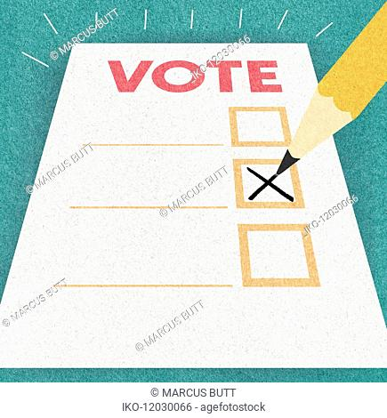 Pencil writing cross on voting paper
