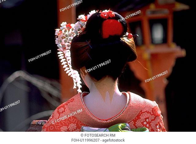 kimono, japanese, traditional, wearing, geisha, woman