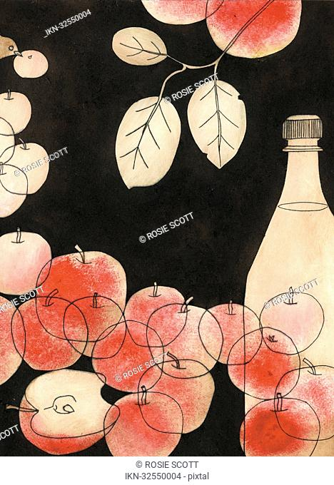 Apples, branch and bottle