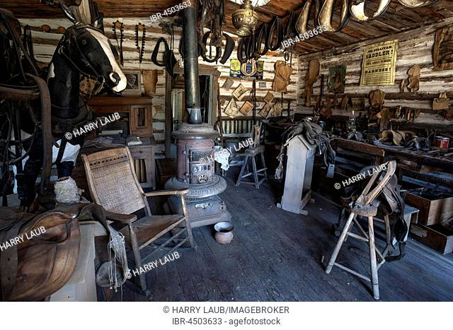 Old Saddlery, Wild West open-air museum, Nevada City Museum, former gold mining town, Ghost Town, Montana Province, USA