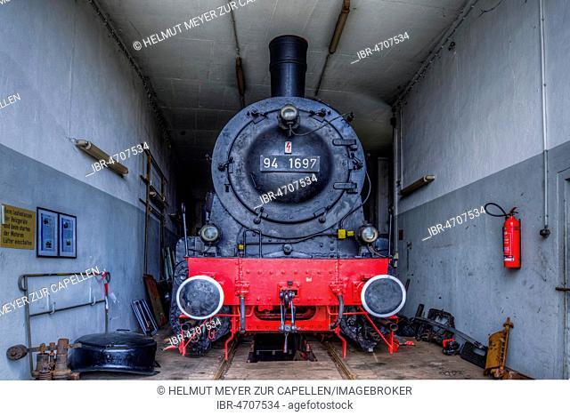 Freight train tender locomotive 94 1697, year of construction 1924, in repair in the locomotive shed, Bavarian Railway Museum Nördlingen, Nördlingen, Bavaria