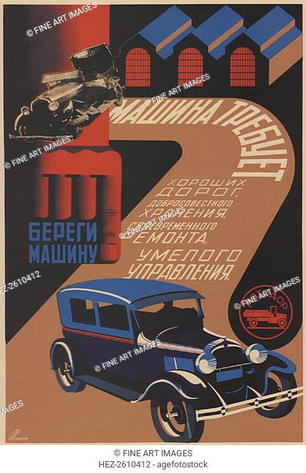 Take care of your car, 1930. Artist: Igumnov, Sergei Dmitrievich (1900-1942)