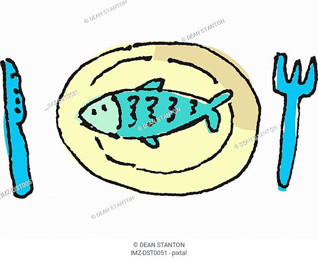Fish on a plate, a fork and knife