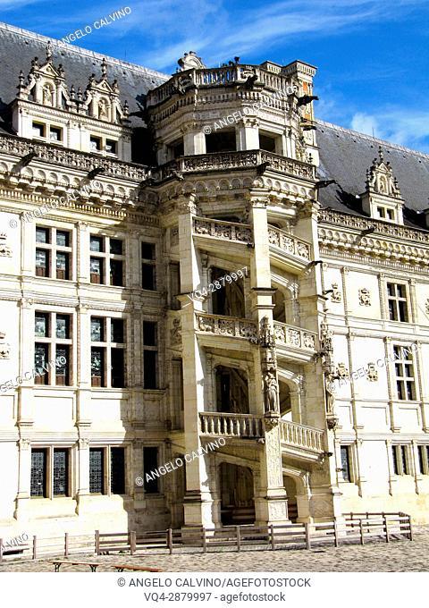 Details from inside yard of the Chateau de Blois, Loire et Cher, Pays de la Loire, Loire Valley , UNESCO World Heritage Site, France.