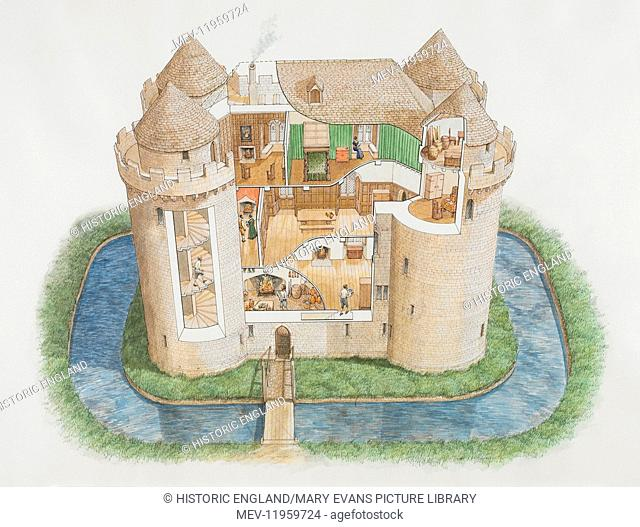 NUNNEY CASTLE, Somerset. Aerial view cutaway reconstruction drawing by Stephen Conlin. The great tower as it might have appeared in the 1580s