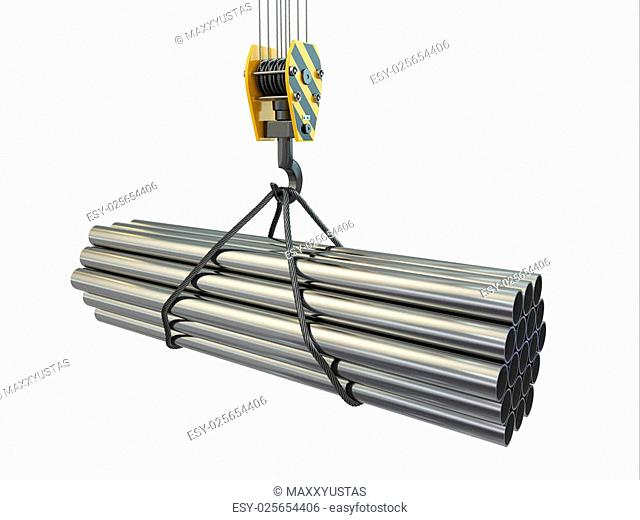 Crane hook and pipes on white isolated background. 3d