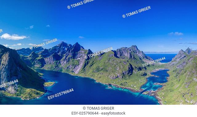 Breathtaking panorama of beautiful fjords surrounded by peaks on Lofoten islands in Norway