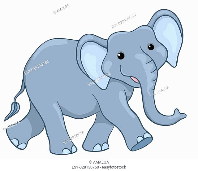 Happy elephant walking. Isolated on white. Vector cartoon children illustration