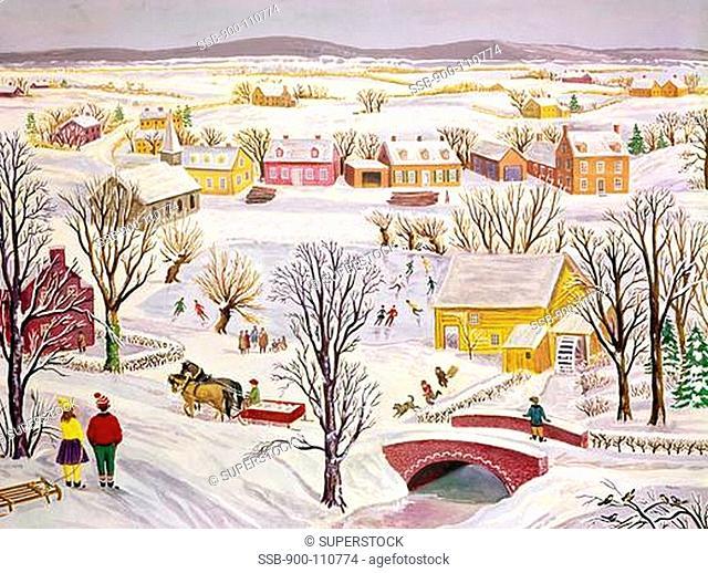 Winter near Bethlehem, Pennsylvania, oil on canvas