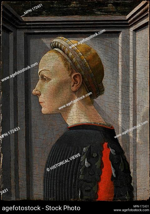 Portrait of a Woman. Artist: Attributed to Giovanni di Franco (Italian, Rovezzano 1425/26-after 1498 Florence); Medium: Tempera on wood; Dimensions: 16 1/4 x 12...