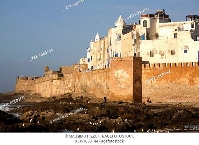 The walls of the fortified city of Essaouira, Morocco