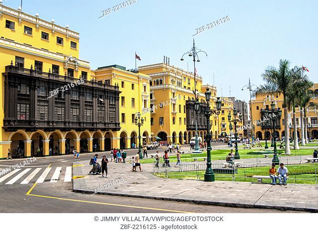 Municipal building city hall at The Plaza Mayor or Plaza de Armas of Lima, Peru