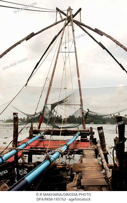 Fishing nets backwater, cochin, kerala, india, asia
