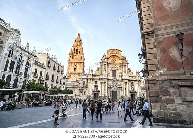 City scene, cathedral and street,square plaza belluga in Murcia,Spain