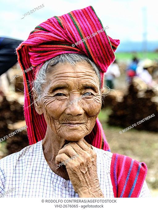 Local woman at Inle Lake market, Myanmar