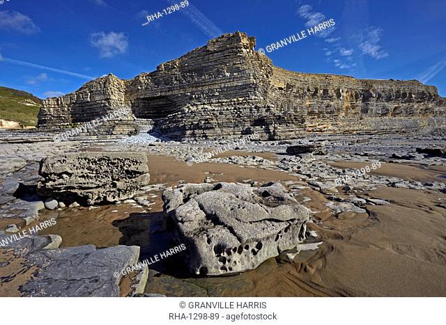 The exposed eroded cliffs of the Glamorgan Heritage Coast, Monknash, South Wales, United Kingdom, Europe