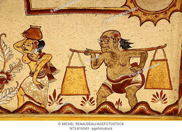 Painting in Kertha Gosa Pavilion (court of justice), Klungkung, Bali, Indonesia