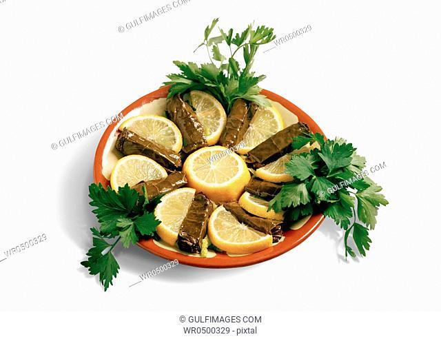 Stuffed Grape-Vine Leaves served as appetizer, Dolmas