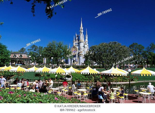 Restaurant terrace, Disneyworld, Disney World, Orlando, Florida, USA