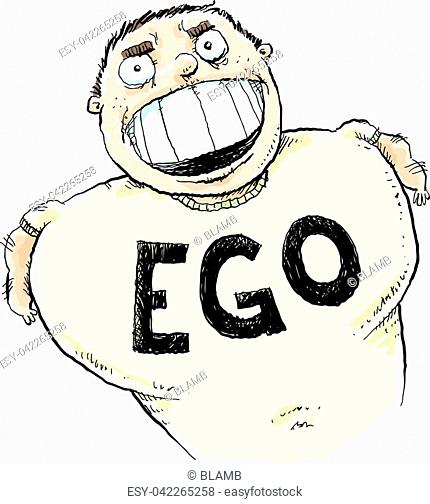 A cartoon man with the word 'EGO' printed on his shirt in large, capital letters