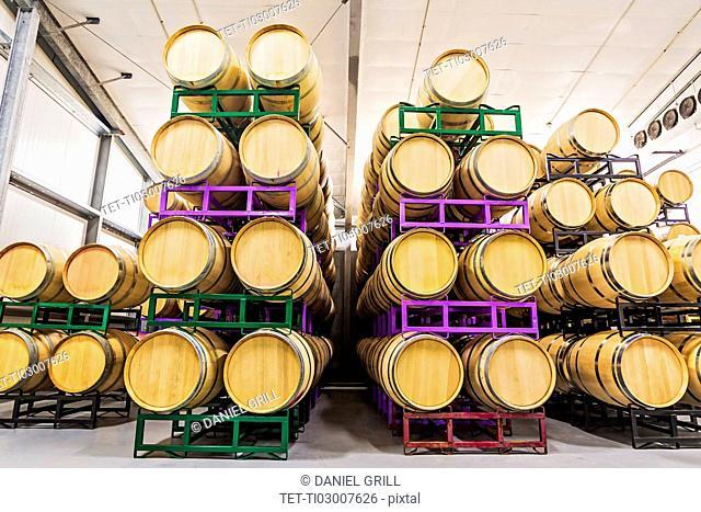 Wine barrels on racks in cellar