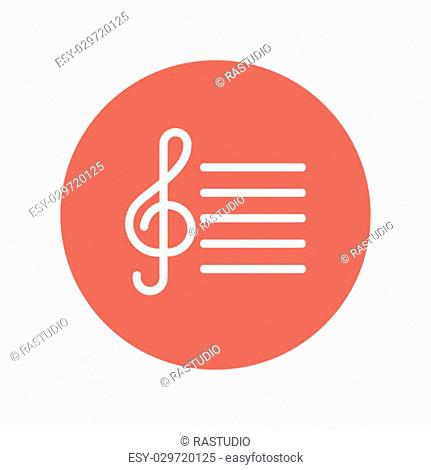 G-clef with bar line thin line icon for web and mobile minimalistic flat design. Vector white icon inside the red circle