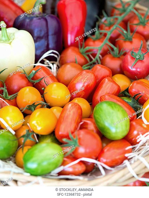 Various tomatoes at a market
