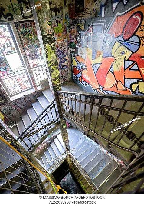 Germany, Berlin, Berlin . Kunsthaus (Art house) Tacheles, the staircase covered by graffiti