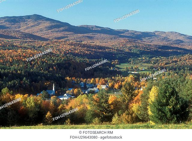 fall, Worcester, VT, Vermont, Scenic view of the village of Worcester and the Worcester Mountain Range in the autumn