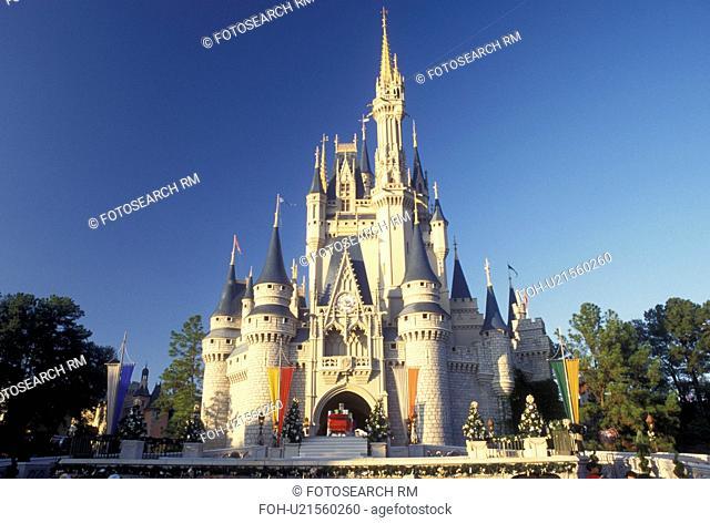 Orlando, FL, Disney World, Magic Kingdom, Cinderella Castle, Lake Buena Vista, Florida, Cinderella Castle decorated for the Christmas holidays in the Magic...